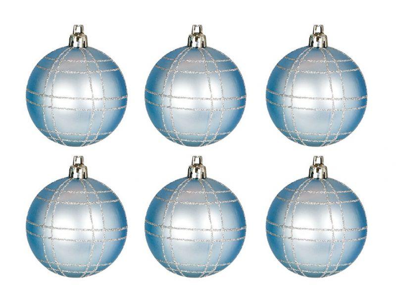 Blister 6 bolas azul decoradas