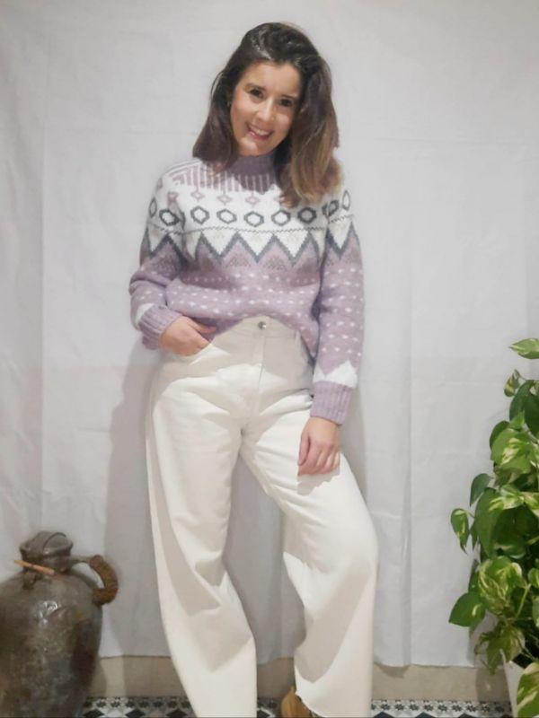 pantalon vaquero ancho beig