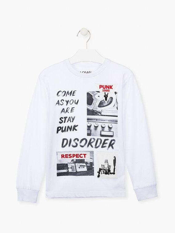 Camiseta chico blanca algodón manga larga