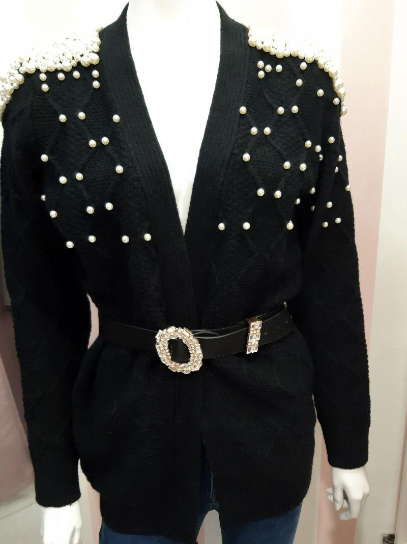 Chaqueta de punto negra perla