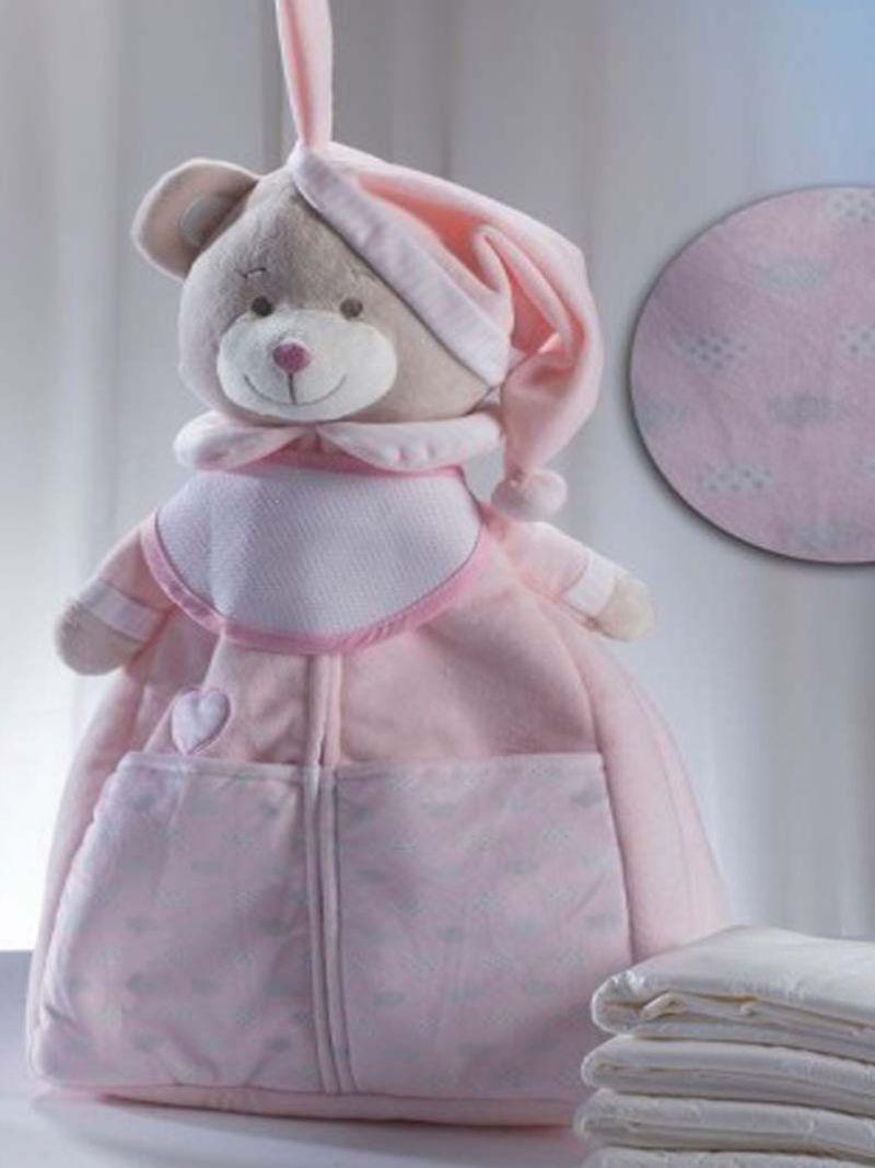 Muñeco guardapañal osito rosa