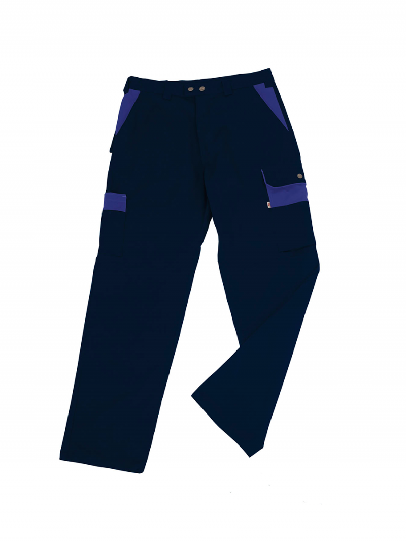 Pantalón Bicolor Unisex Multibolsillos marino/azulina