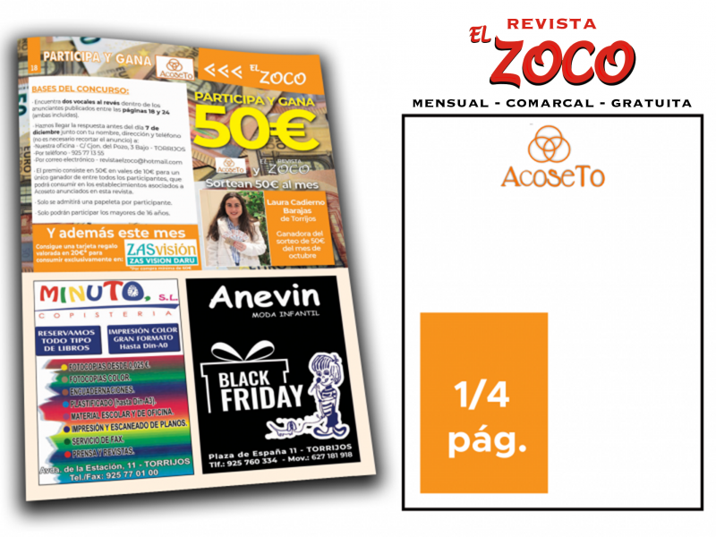 ANUNCIO PUBLICITARIO EN REVISTA EL ZOCO - PRECIO ESPECIAL PARA SOCIOS DE ACOSETO