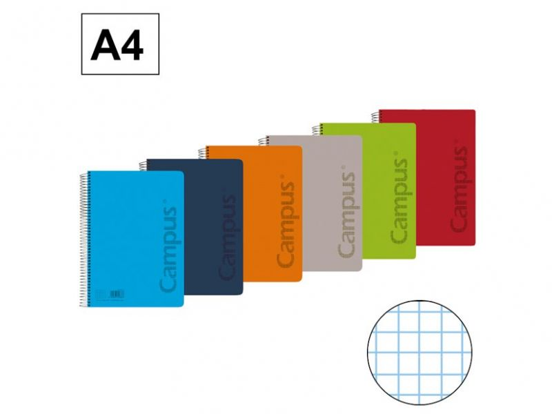 Cuaderno Campus A4 4mm. tapa polipropileno 80 hojas