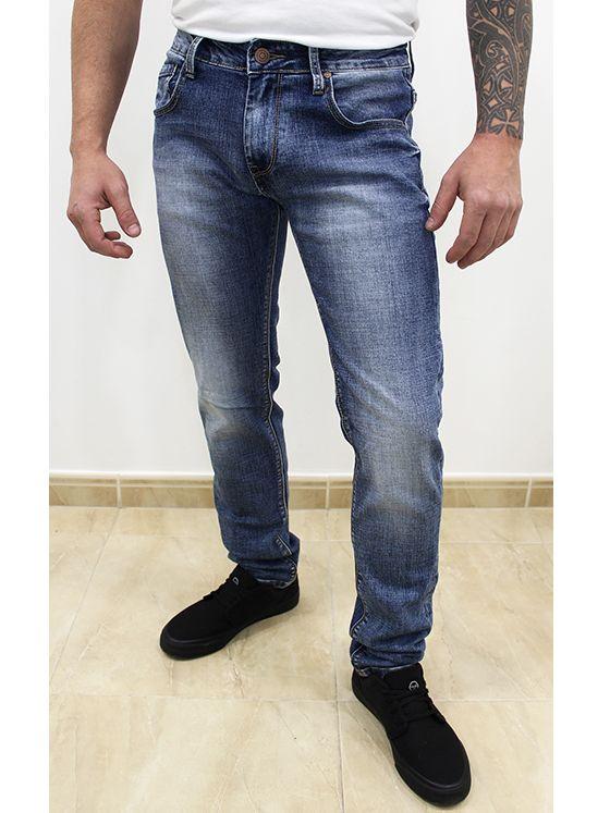 Jeans Regular Azul Desgastado