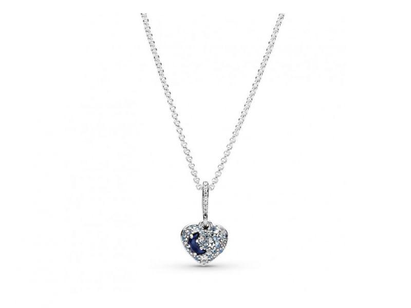 Collar Pandora Luna Azul Brillante Y Estrellas