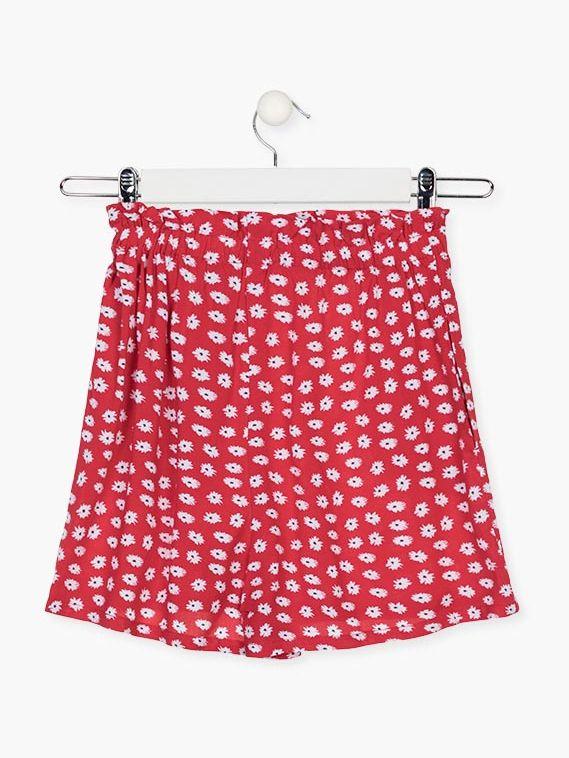 Short de flores de color rojo para chica