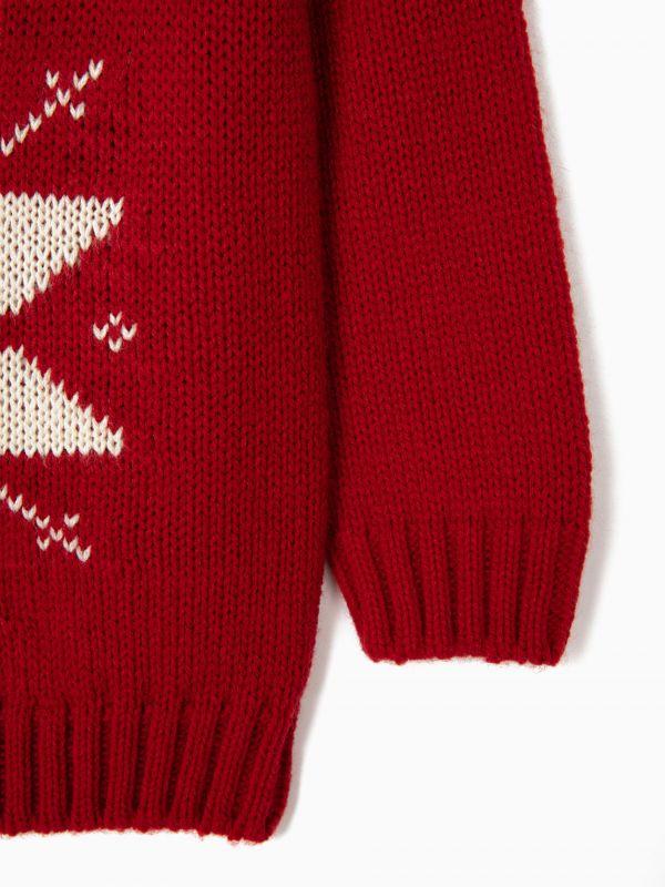 Jersey con jacquard rojo